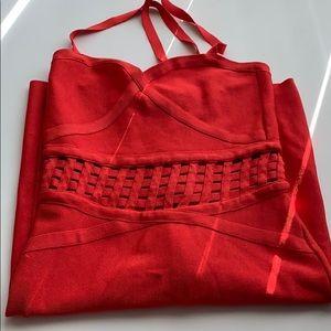 Red Bandage BeBe dress!! 🔥🔥🔥